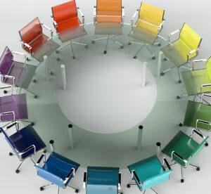 Bürodesign - Konferenztisch bunt
