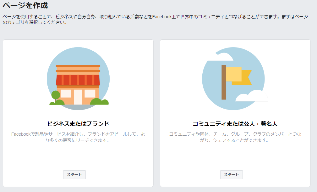 Facebookページ作成②