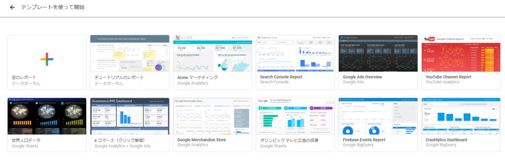Google データポータル(データスタジオ) テンプレート レポート